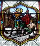 Saint Martin (vitrail), à Savonnières - Yvette GOGUE