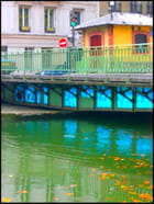 Pont aux reflets bleutés - Yvette GOGUE