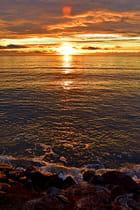Coucher de soleil sur rochers