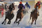 Course de chevaux sur neige