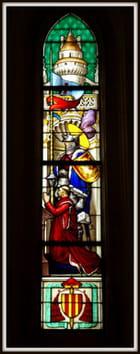 Détails des vitraux, chapelle du Château de Chaumont