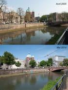 Le quai Finkmatt photographié en 2005 et en 2014