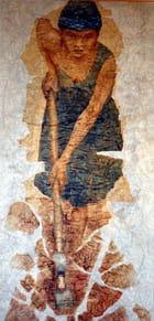 peinture d'une femme au travail