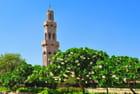 Un minaret émerge des frangipaniers