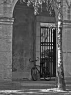 Une bicyclette dans le patio