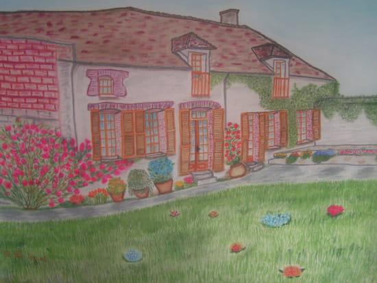 Peinture sur soie d'une maison