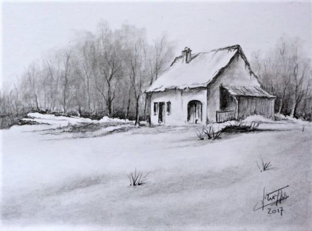 Dessin crayon graphite vieille maison et neige par claude for Programme dessin maison