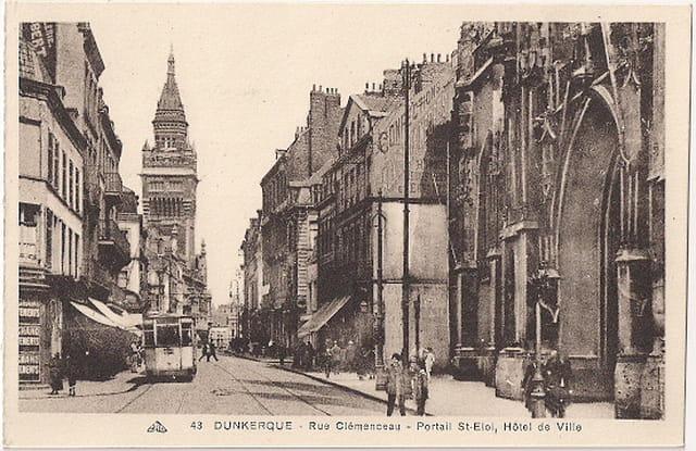 59 DUNKERQUE - Rue Clémenceau - Portail St-Eloi, Hôtel de Ville