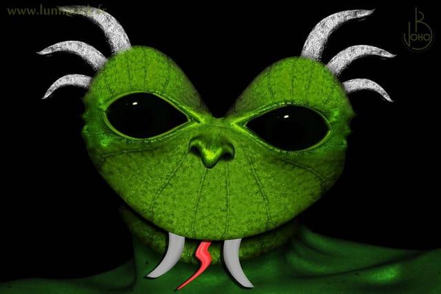 Alien grenouille à côrnes