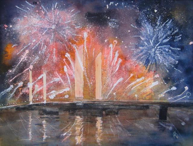 Aquarelle d'un feu d'artifice sur le pont Chaban-Delmas à Bordeaux