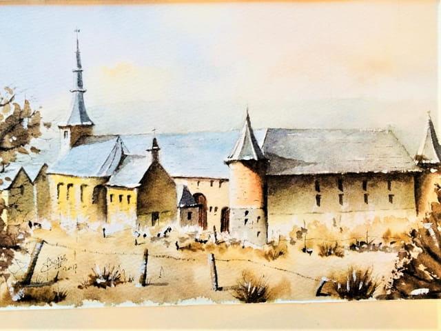 Aquarelle- Foisches Eglise et ferme des Templiers