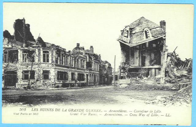 Armentières - carrefour de Lille - Ruines 1914