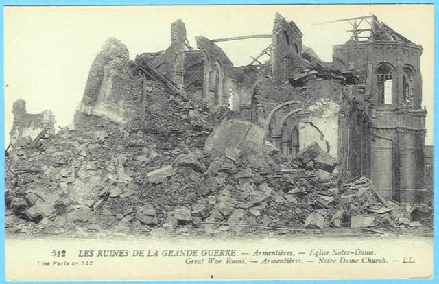Armentières - Eglise Notre-Dame - Ruines 1914