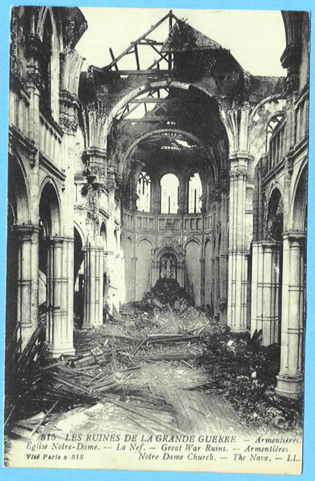 Armentières - Nef église Notre-Dame - Ruines 1914