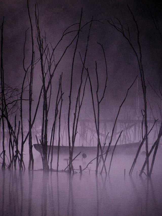 Barque dans la brume matinale