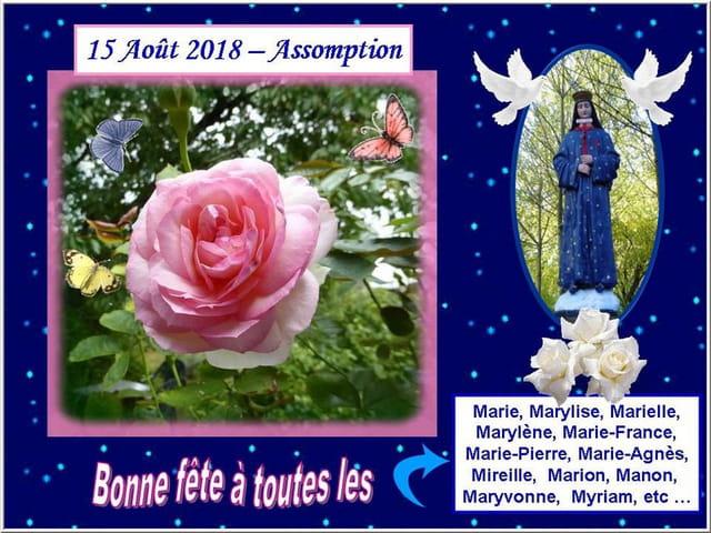 Bonne fête à toutes les personnes portant le prénom de Marie ou dérivé de Marie