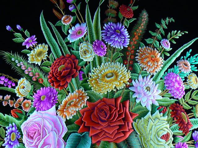 Bouquet en broderie, détail