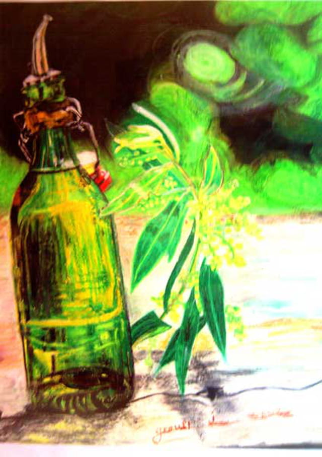 Bouteille-pastel grasse