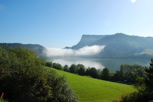 Brume sur un lac.