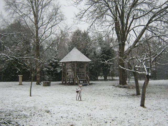 C'est un jardin extraordinaire, sous la neige