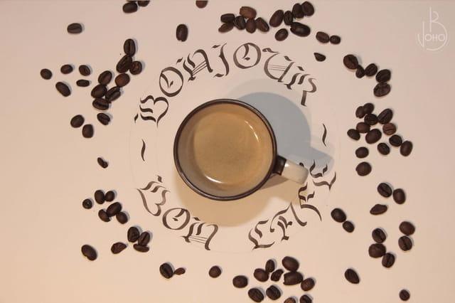 Calligraphie Bonjour et Bon Café
