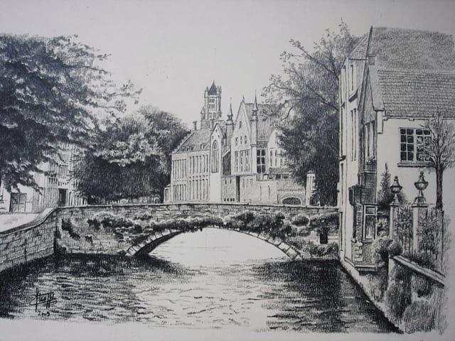canal a brugges  dessin graphite  par claude stroppa sur l