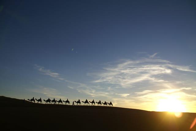 Caravane au crépuscule