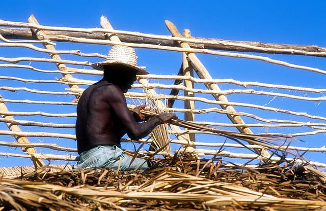 Ce pêcheur Vezo construit sa maison