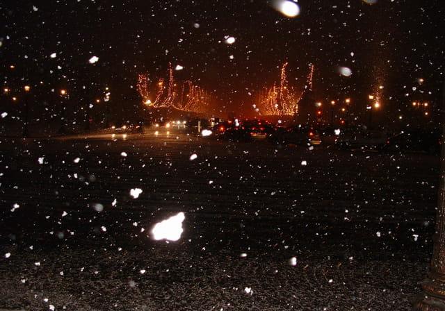 Champs elisées sous la neige à noël