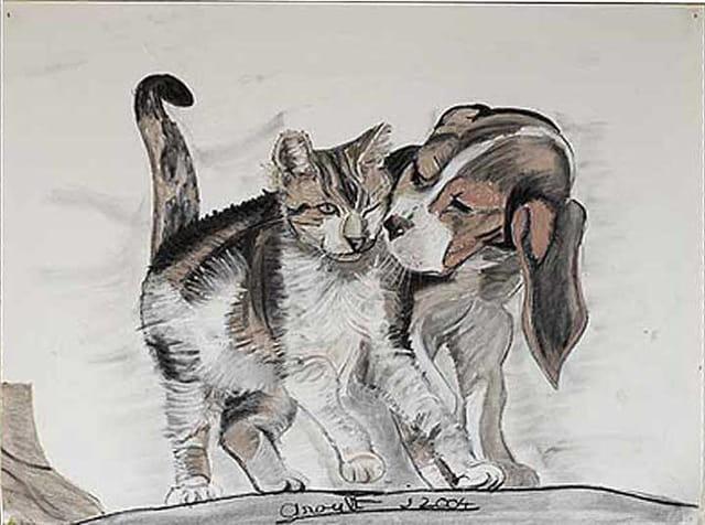 Chien-chat-fusain craie