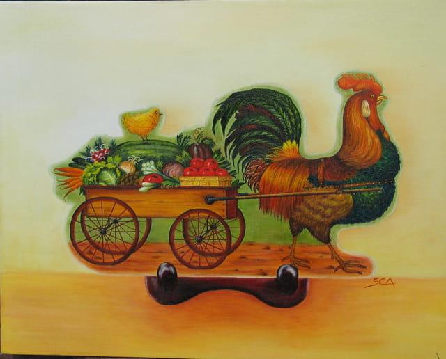 Coq marchand de légumes