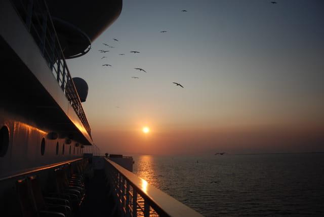 coucher de soleil du bateau