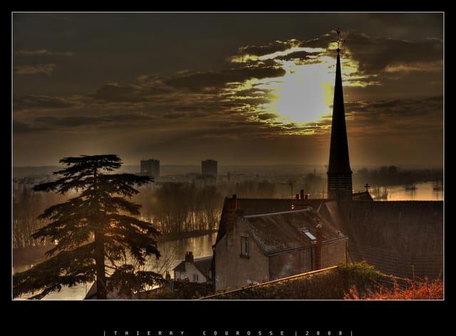 Coucher de soleil sur la Loire, Tours
