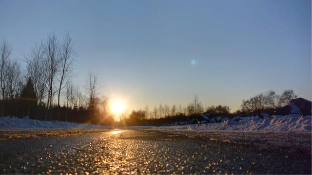 Coucher de soleil sur la route de Vulcania