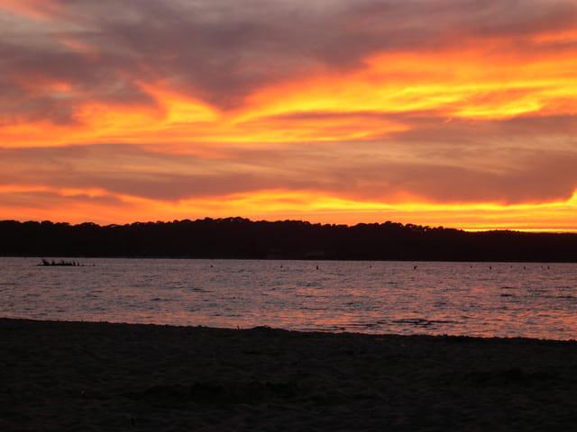 Coucher de soleil sur le lac de biscarrosse