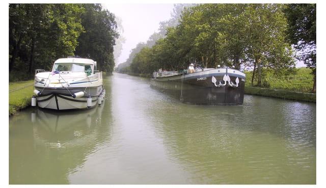 Course de péniches sur le canal