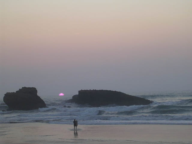 Dernières lueurs sur la plage de Biarrritz