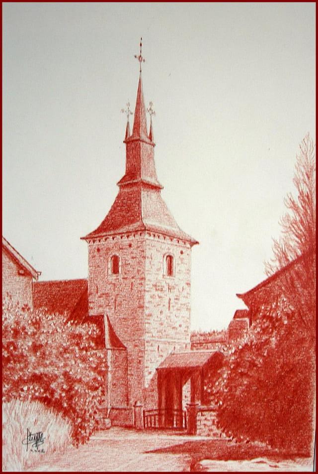 Dessin sanguine eglise d 39 hargnies par claude stroppa sur l 39 internaute - Dessin eglise ...
