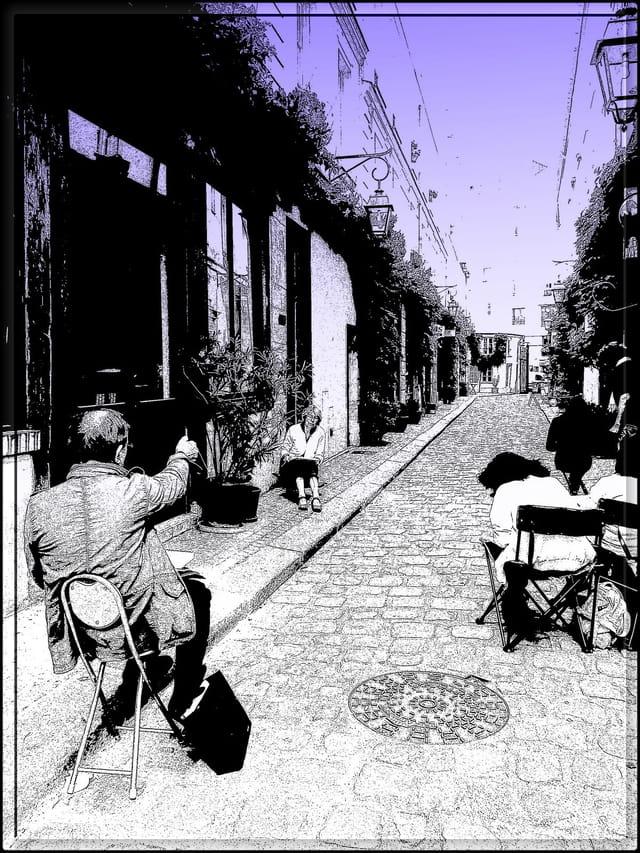 Dessiner dans un passage typique de Paris
