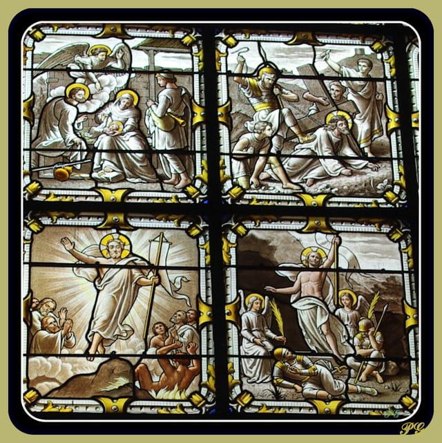 détail d'un vitrail :  Notre Dame à Versailles.