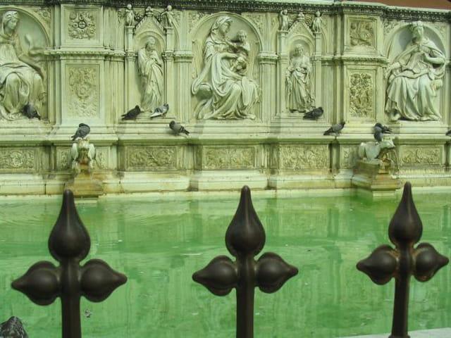 Détails de la fontaine à Sienne
