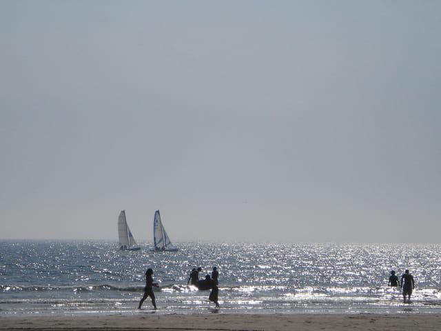 Deux voiles sur les flots argentés