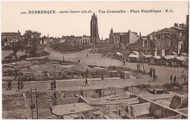 DUNKERQUE - ap guerre 39-45 - Vue d'ensemble - Place République