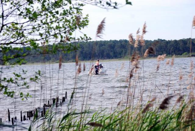 en bateau sur le lac de Sanguinet