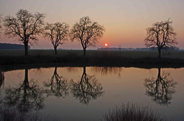 �tang de la ferme de la Fillolière au soleil couchant