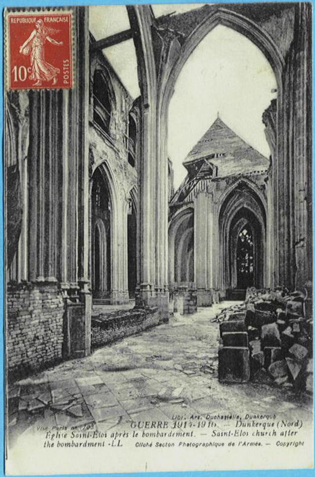 F - 59 DUNKERQUE - Eglise St-Eloi après le bombardement