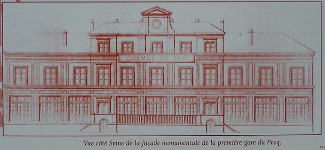 Façade de la première gare du Pecq (1837)