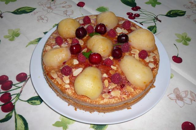 Gâteau fourré à la confiture maison de griottes