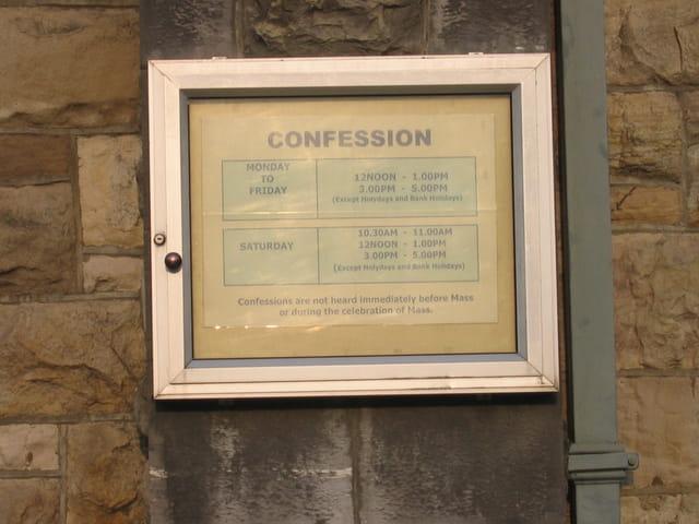 Horaires de confession