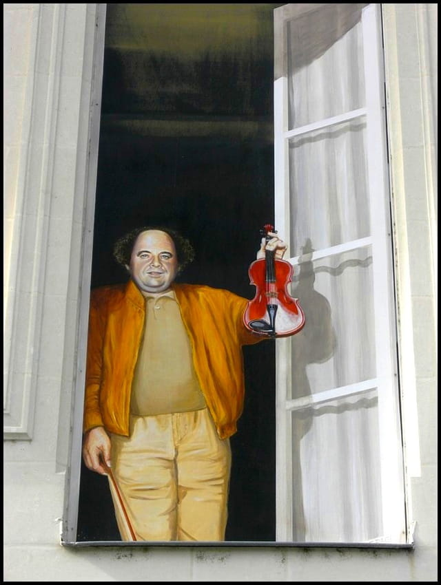 Jacques Villeret & son violon (trompe-l'oeil)